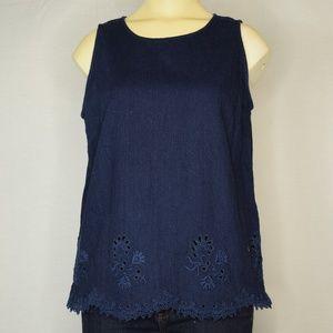 😎 Madewell | Denim Embroidered Sleeveless Top S